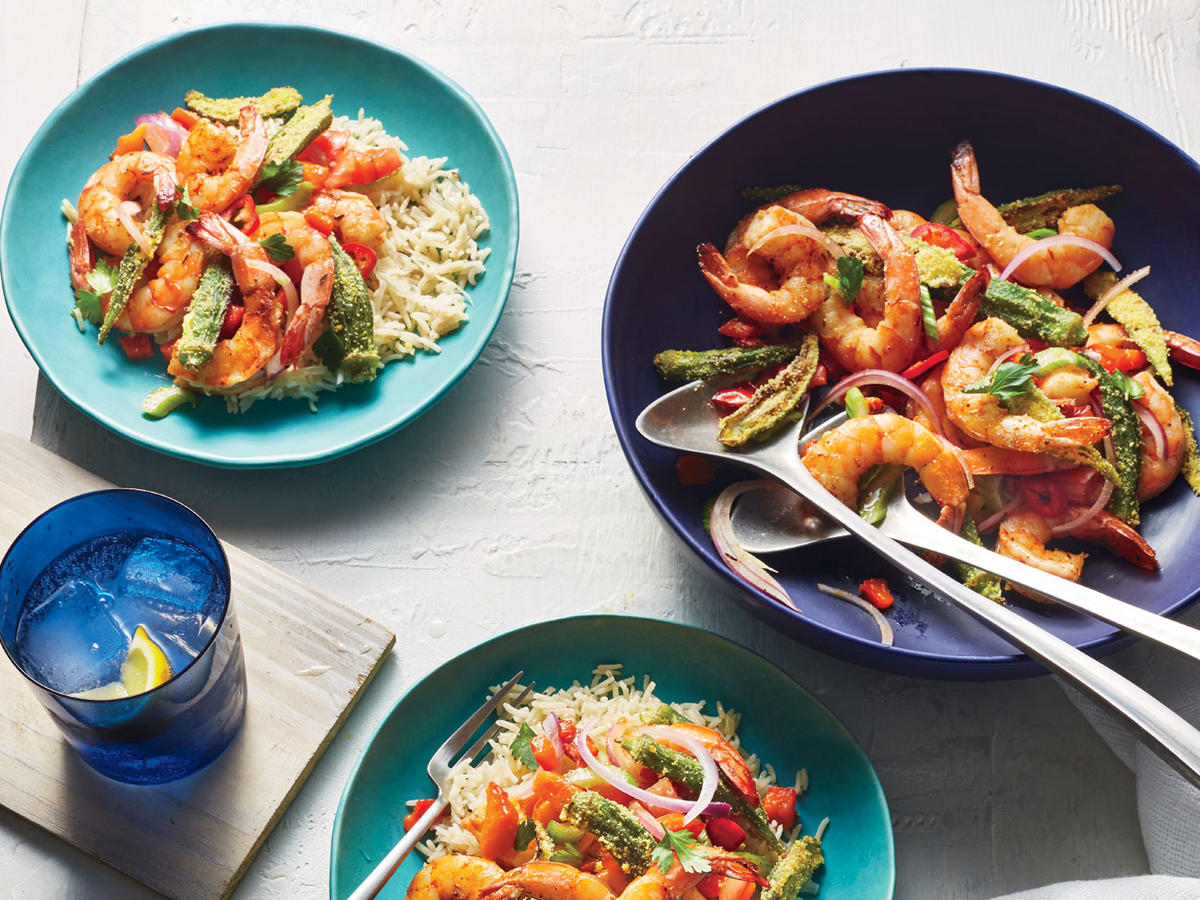 Charred Shrimp and Okra Bowl