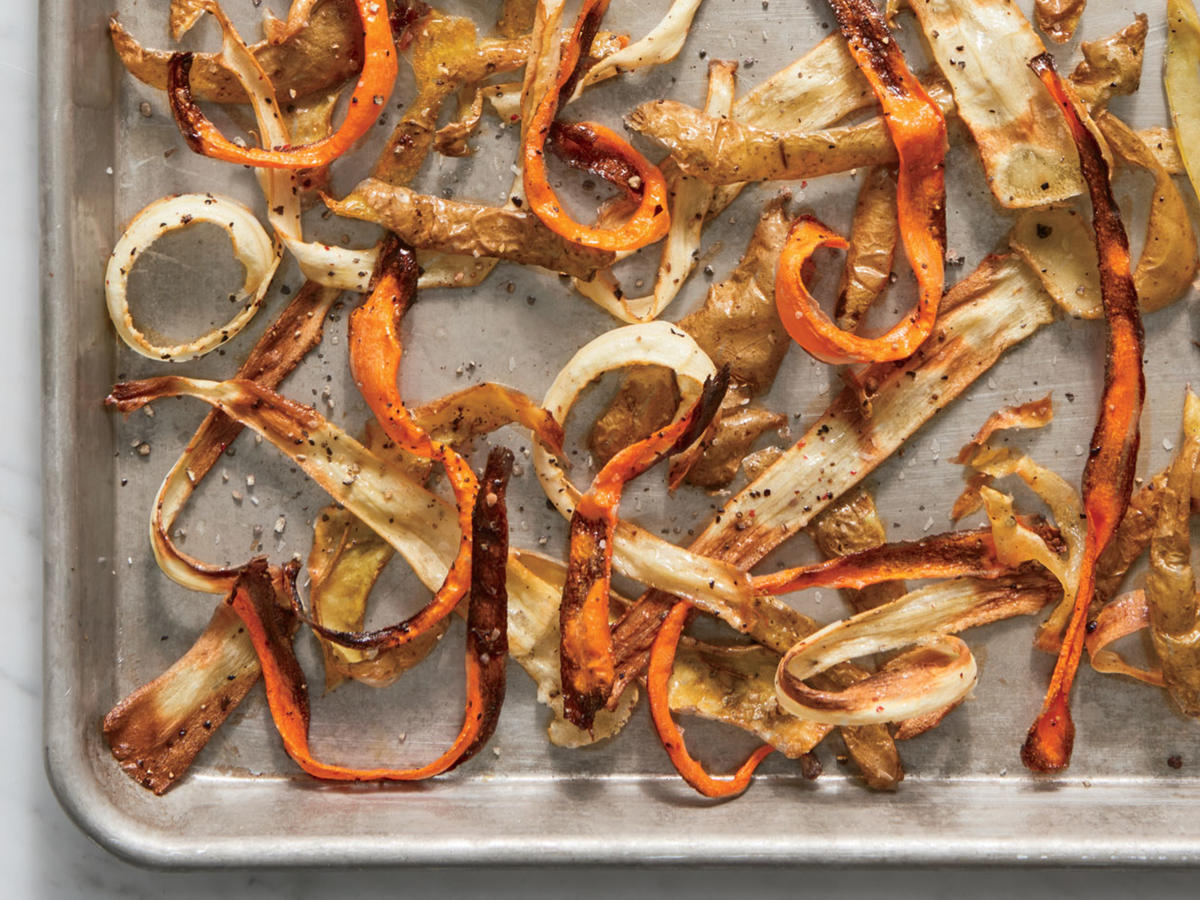 Toss potato, carrot, and parsnip peels with a little oil, salt, and pepper, and bake at 400°F for 10 minutes or until browned and crisp. They're delicious on their own, and they also make great crunchy garnishes for soups and salads.