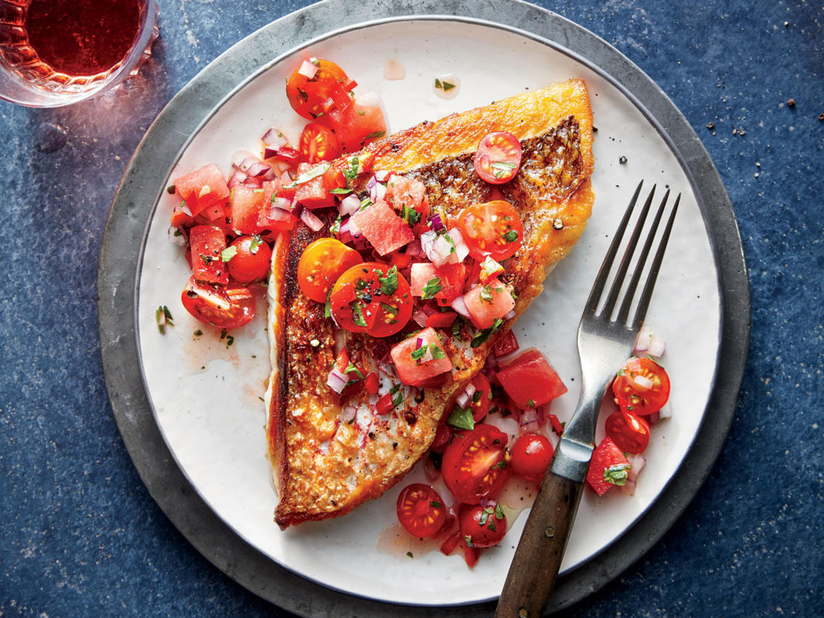 Fish Friday: Red Snapper with Chunky Tomato-Watermelon Salsa