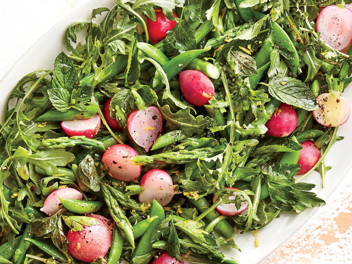 Start with a handful of peak produce, and you'll have a great salad every time. Asparagus, radishes, peas, and delicate herbs celebrate the bounty of late spring. Remember that the fat in a salad doesn't have to come from oil in the dressing; a drizzle of browned butter brings everything together here.