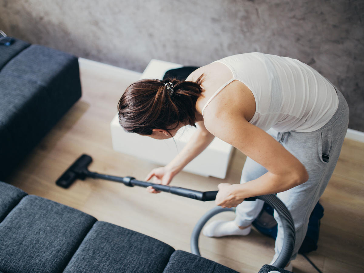 Keep your floor clean and waist slim by vacuuming. One hour ends up burning 100 calories, so be sure you take your time and get into all of those hard-to-reach places.