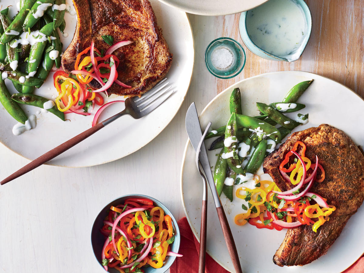 Ancho Chile Pork Chops With Pickled Pepper Relish