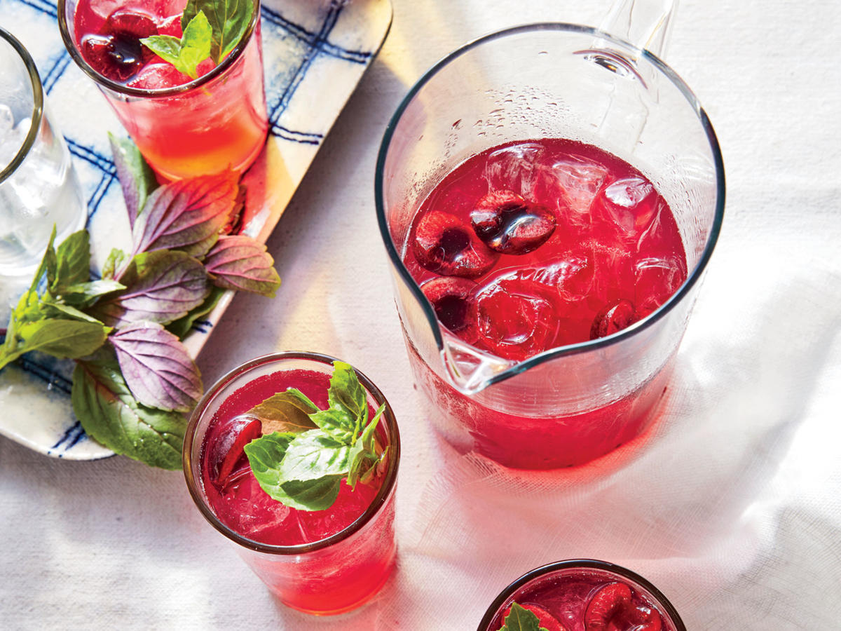 Cherry-Basil Lemonade Spritzers