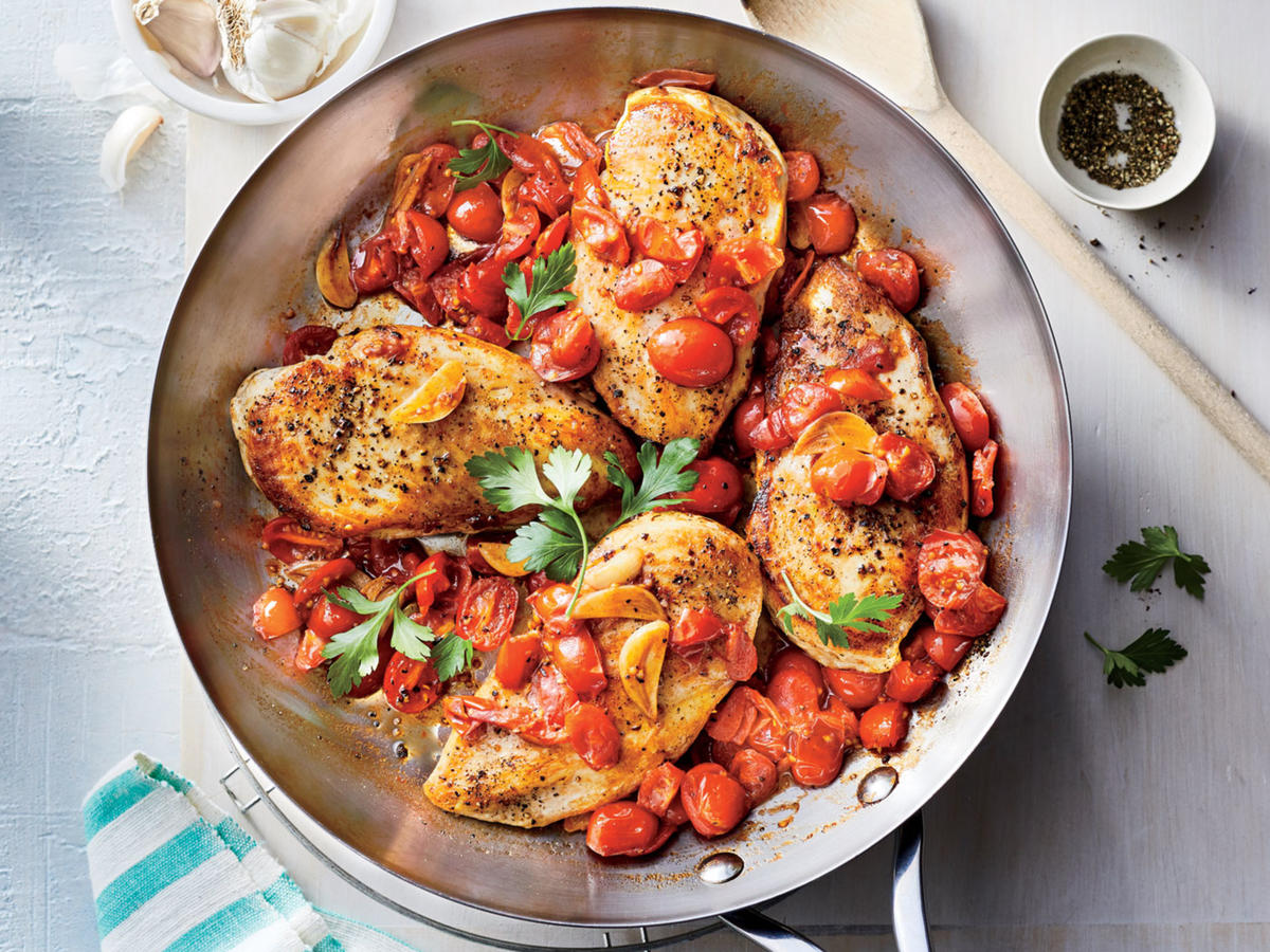 Superfast chicken recipes cooking light chicken breasts with brown butter garlic tomato sauce forumfinder Images