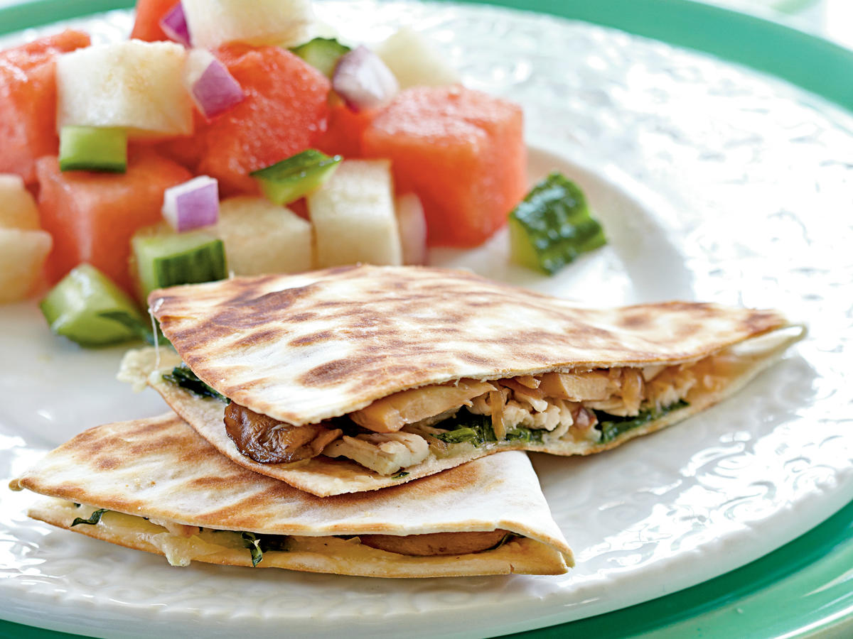Chicken, Mushroom, and Gruyère Quesadillas Recipes