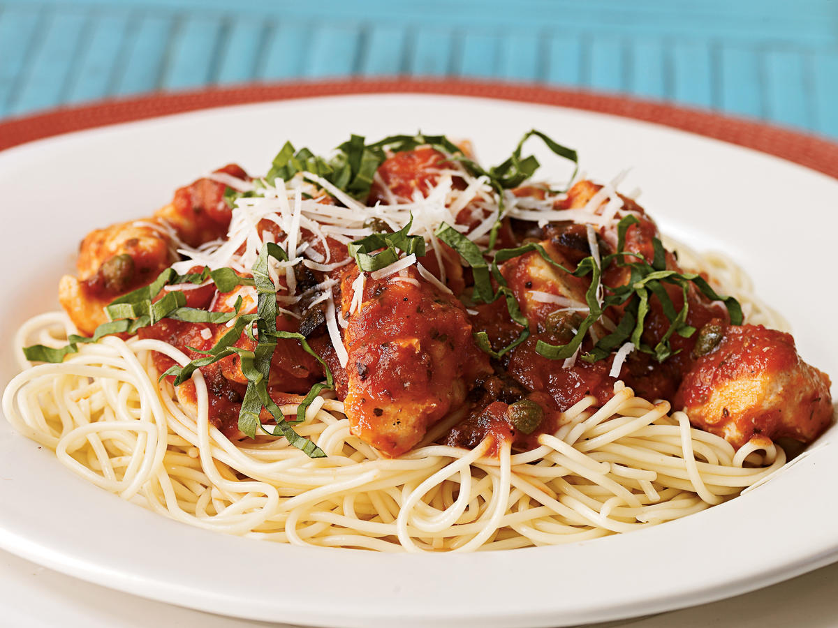 100 easy chicken recipes cooking light chicken puttanesca with angel hair pasta recipe forumfinder Image collections