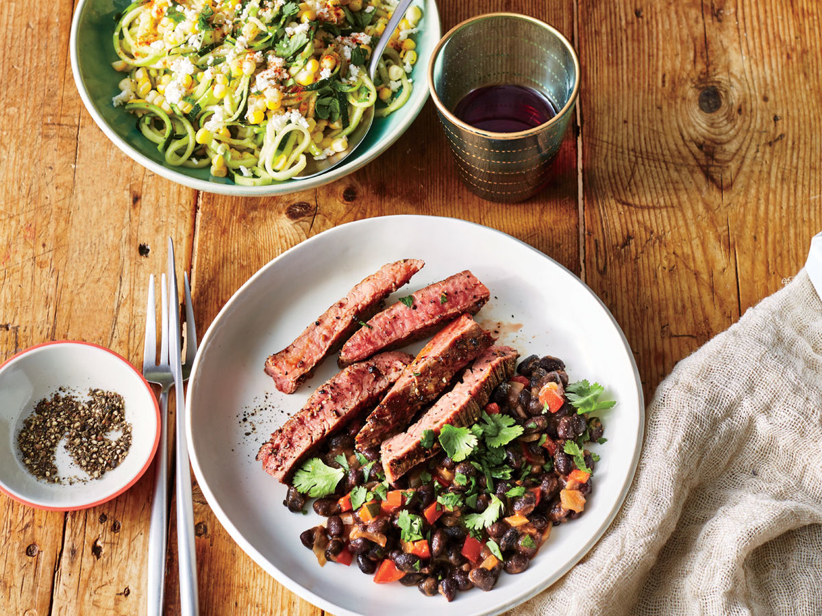 Wednesday: Coriander-Crusted Flank Steak with Cuban Black Beans