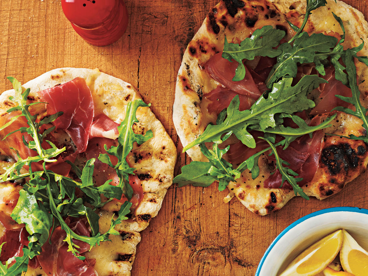 Grilled Pizza with Prosciutto, Arugula, and Lemon Recipe