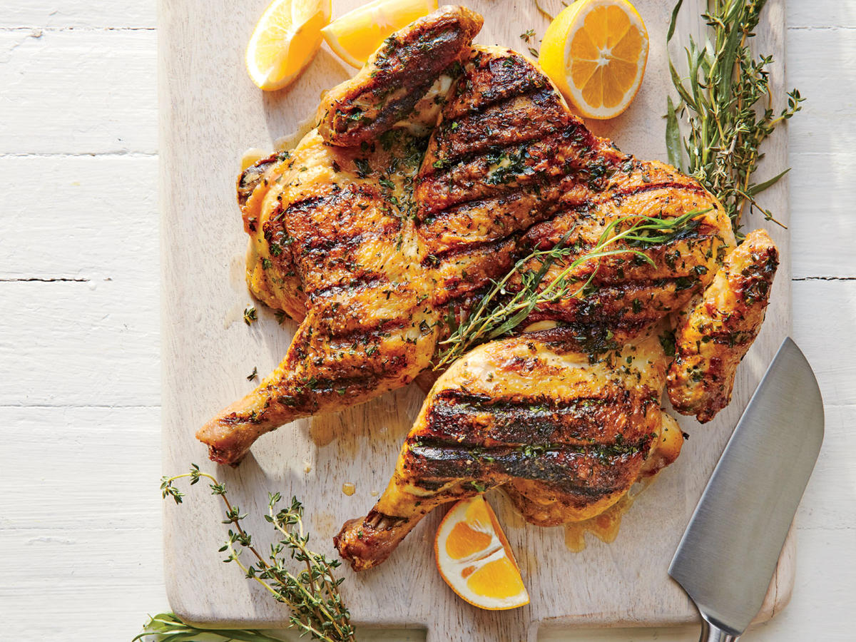 Herb Rubbed Chicken Under A Brick Recipe Cooking Light