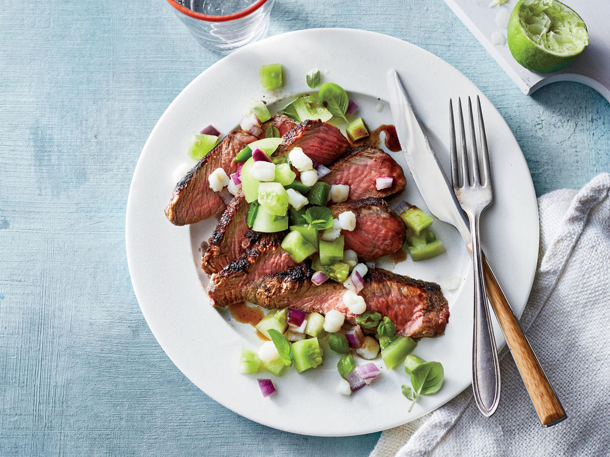 Seared Cajun-Style Steak with Green Tomato Relish