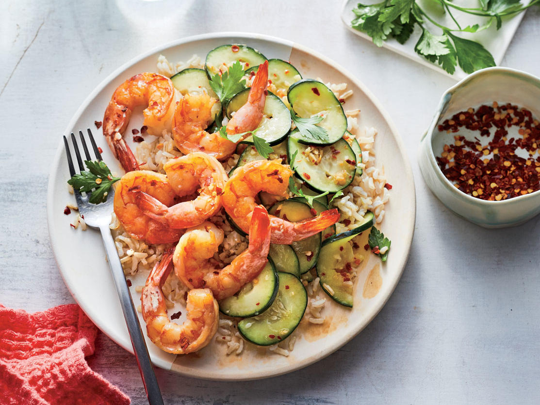 Sesame Shrimp with Smashed Cucumber Salad