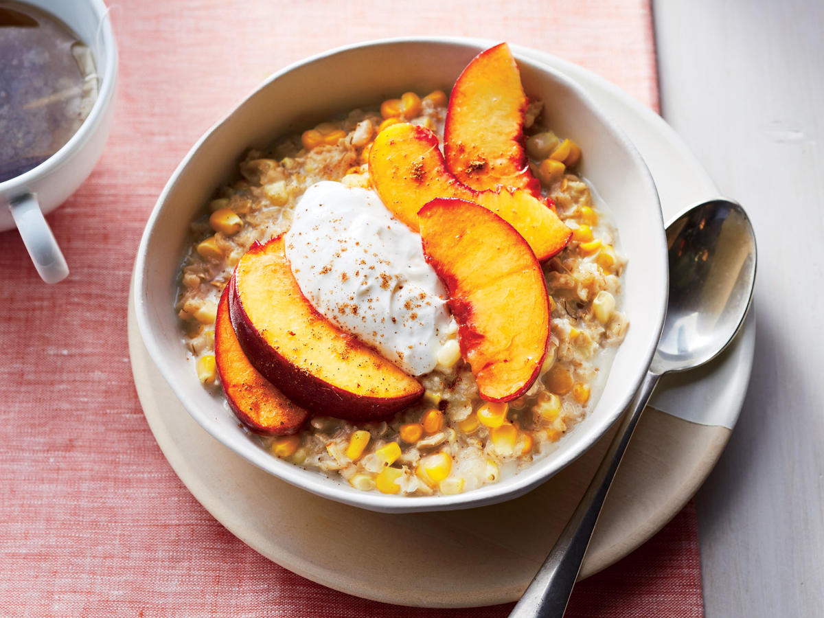 Sweet Corn Oatmeal with Peaches
