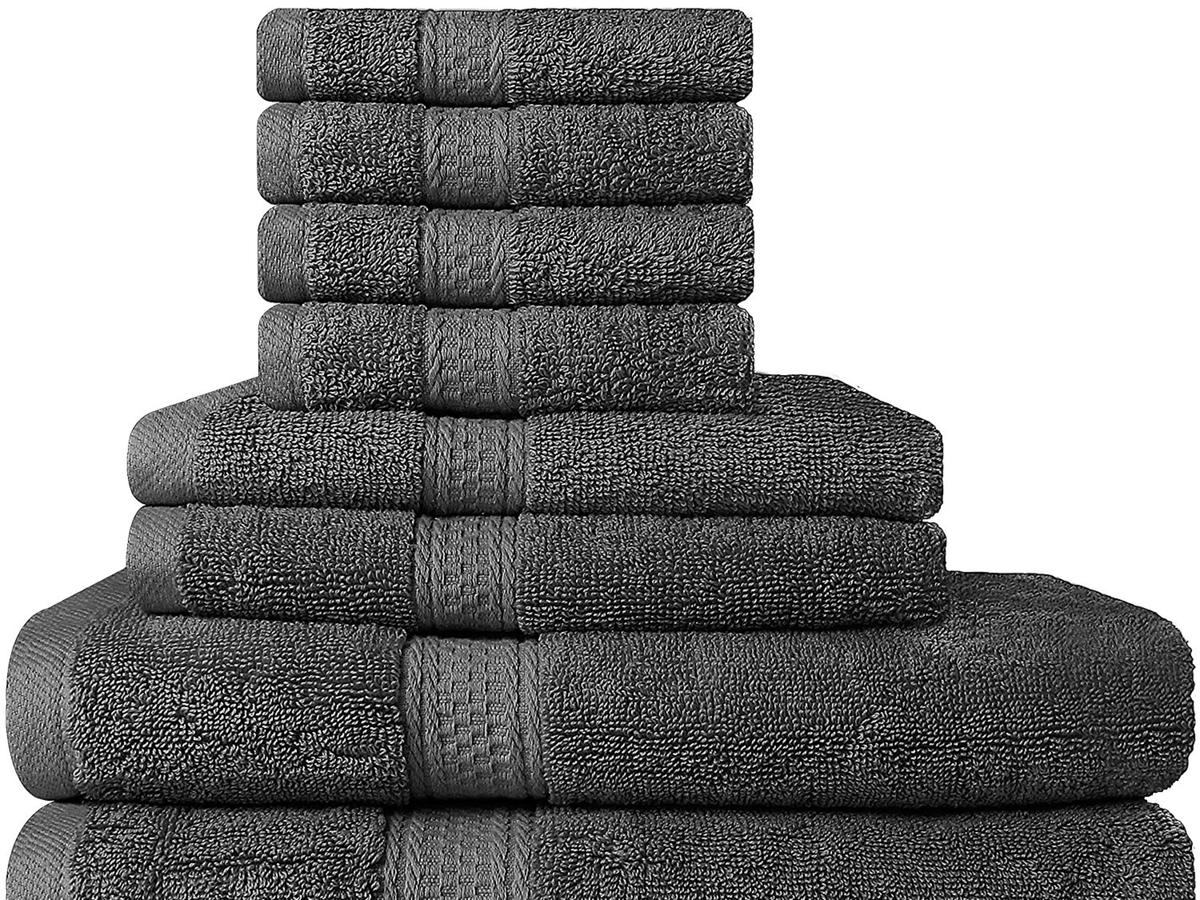 Premium 8 Piece Towel Set (Grey)