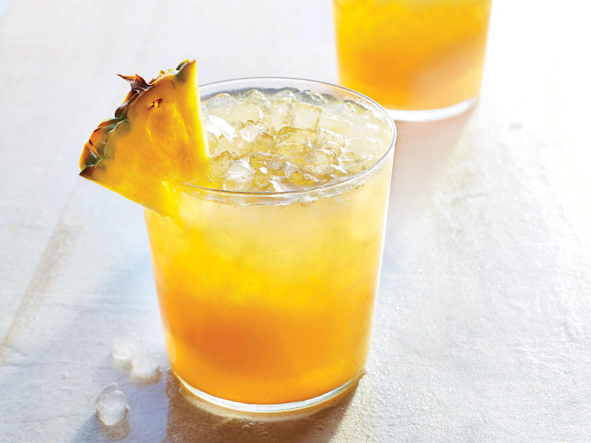 "Barbados, the Caribbean birthplace of rum, has a rum punch recipe as foolproof as it is versatile: ""One of sour, two of sweet, three of strong, and four of weak."" In our take, fruit juice and ginger ale serve as both sweet and weak, so we don't need to add any brown sugar or simple syrup."