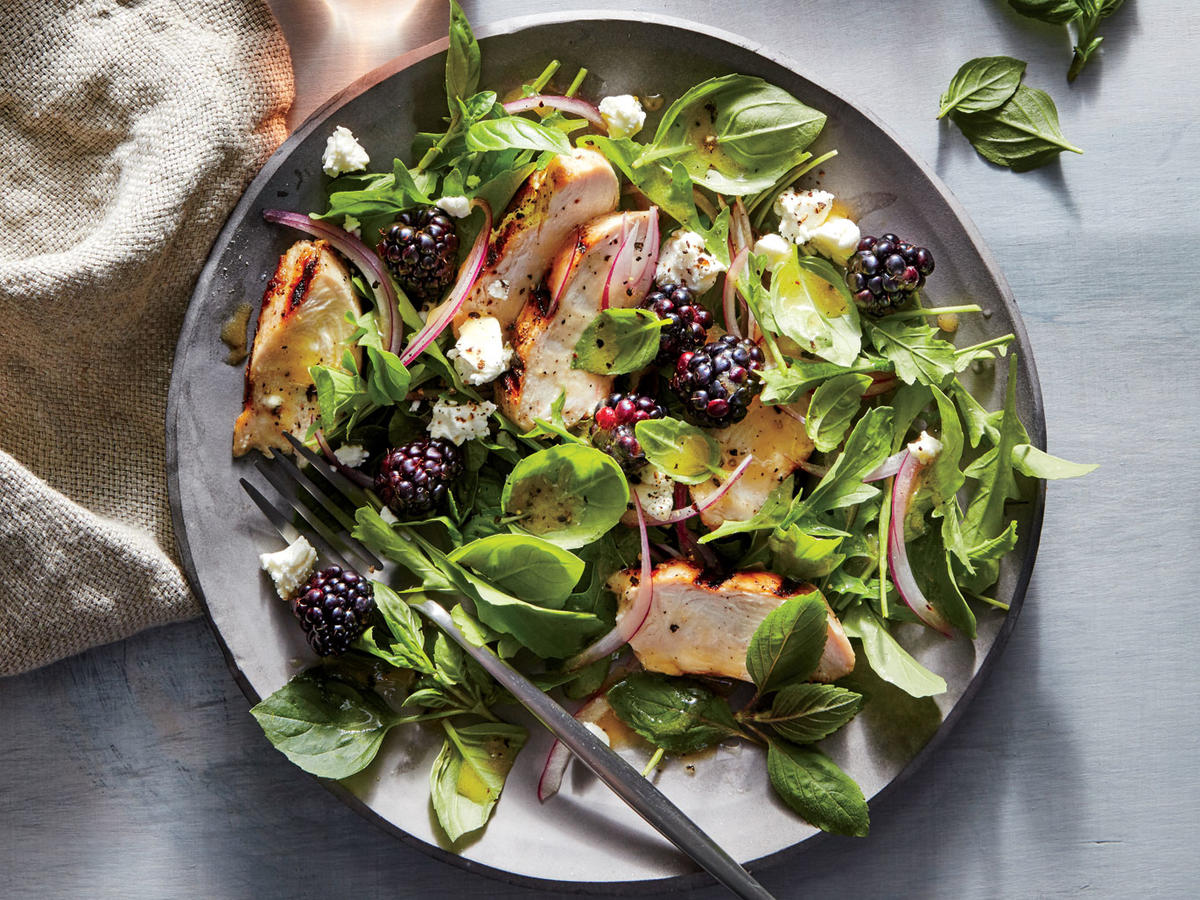 Basil, Blackberry, and Grilled Chicken Salad Recipe ...
