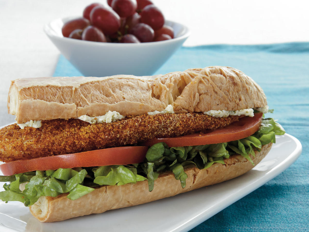 Cornmeal-Crusted Tilapia Sandwiches with Lime Butter