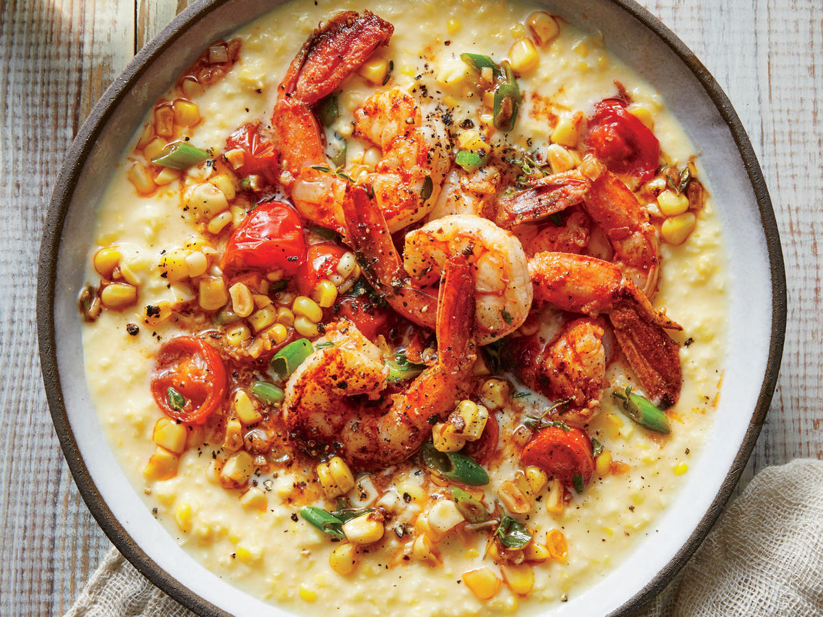 This dish is a fresh, tasty twist on shrimp and grits. The shrimp mixture takes on bold flavors from Creole seasoning, smoked paprika, thyme, and garlic—making for a robust mixture that's complemented by the sweetness of the creamed corn. Aim for large shrimp here so the dish feels a little more special; we suggest 16/20 count shrimp or 10/15 count if you want them even bigger.