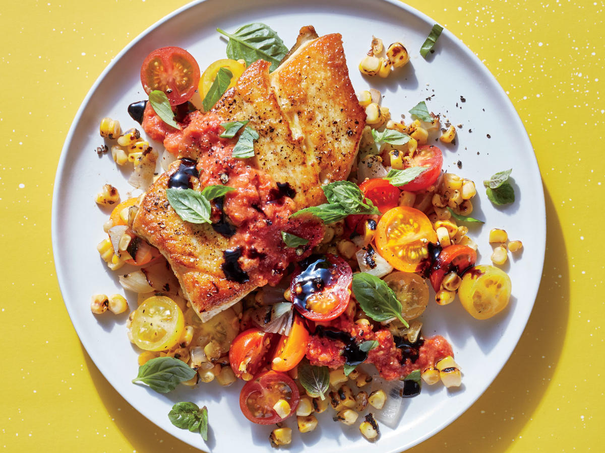 fish with fire-roasted summer veggies recipe