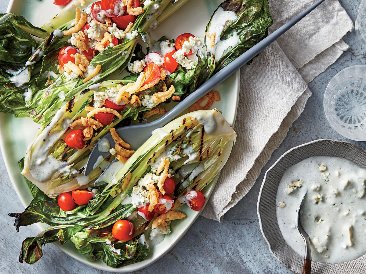 "Grilled Bok Choy ""Wedge"" with Blue Cheese-Buttermilk Dressing"