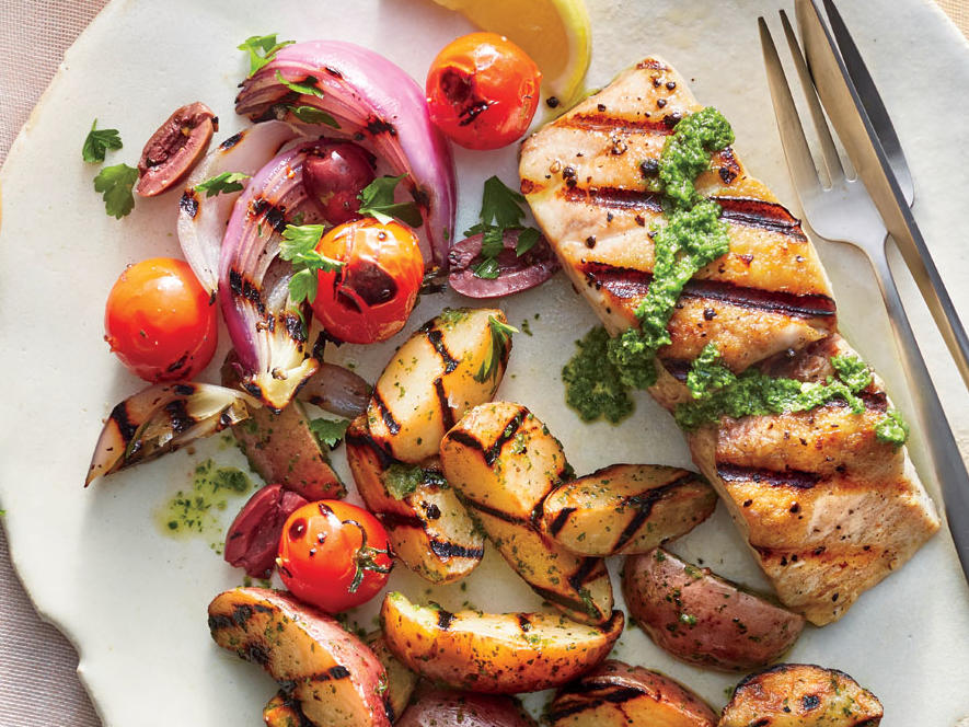 Giving the tomato and red onion a bit of char on the grill transforms this simple salad into a fantastic summer side. The tomatoes become extra juicy as they soften and blister on the grill. The red onions become tender, sweet, and slightly smoky.