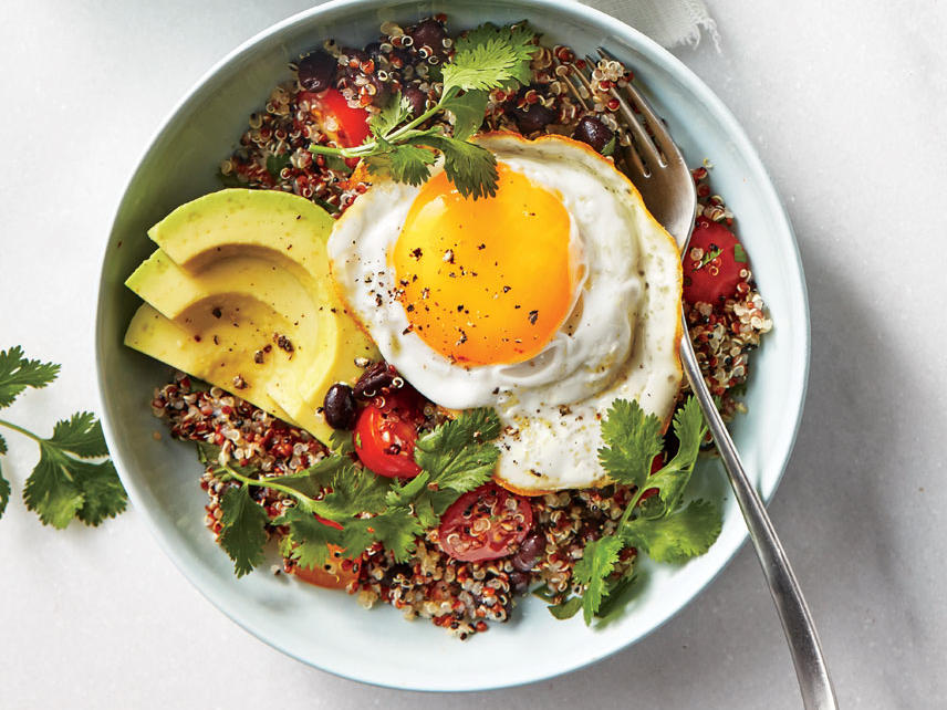 This quick, satisfying breakfast is loaded with anti-inflammatory foods extra-virgin olive oil, avocado, tomatoes, quinoa, and omega-3 eggs. For even more anti-inflammatory benefit, serve with an orange or grapefruit.