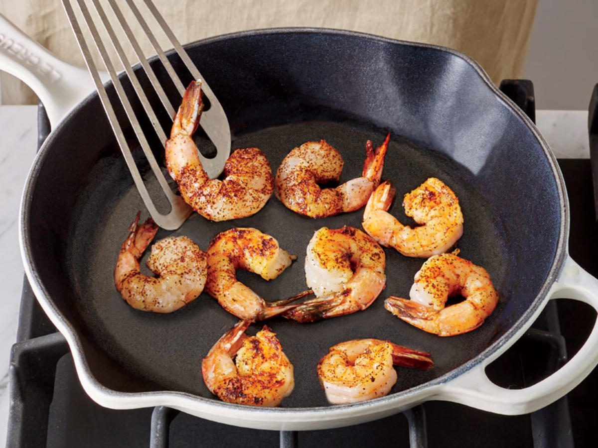 Sear shimp in pan.