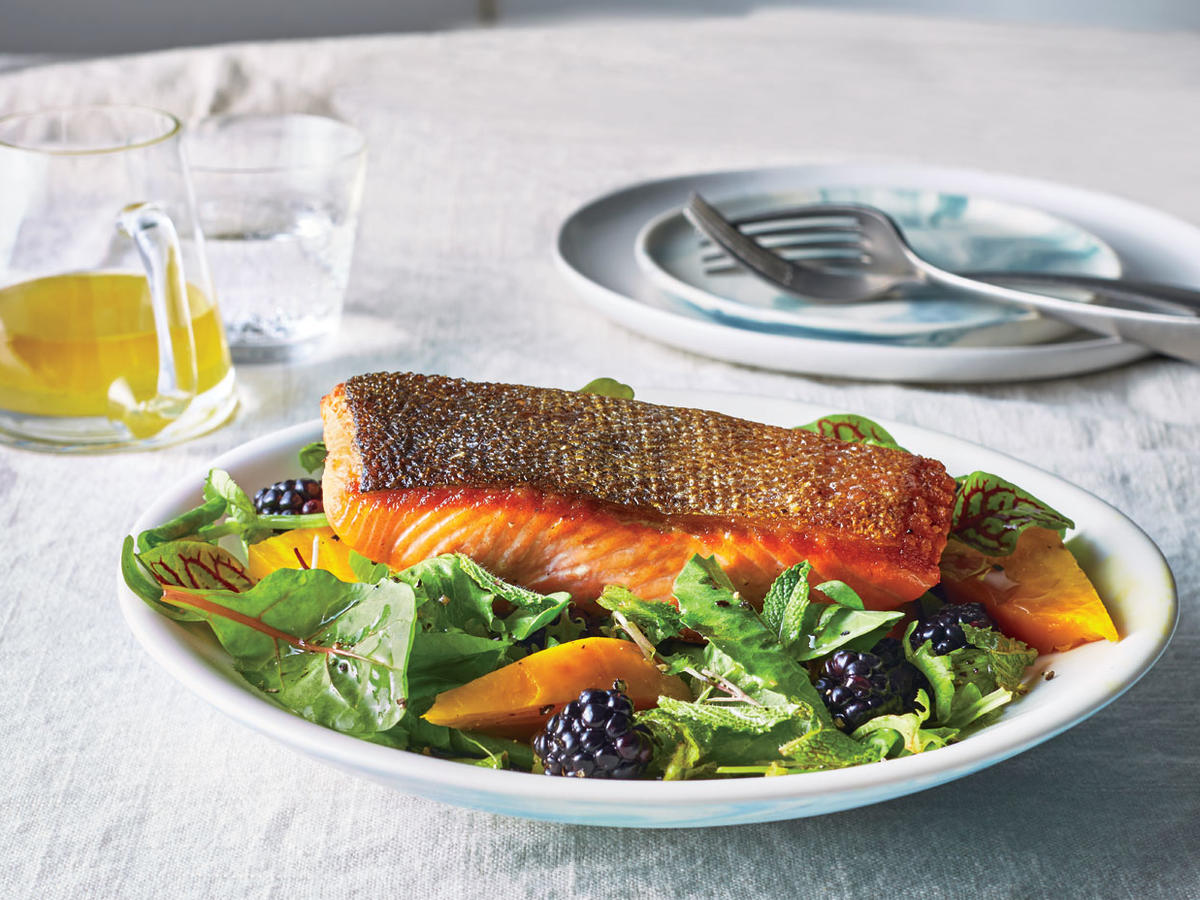Monday: Seared Salmon Salad with Beets and Blackberries