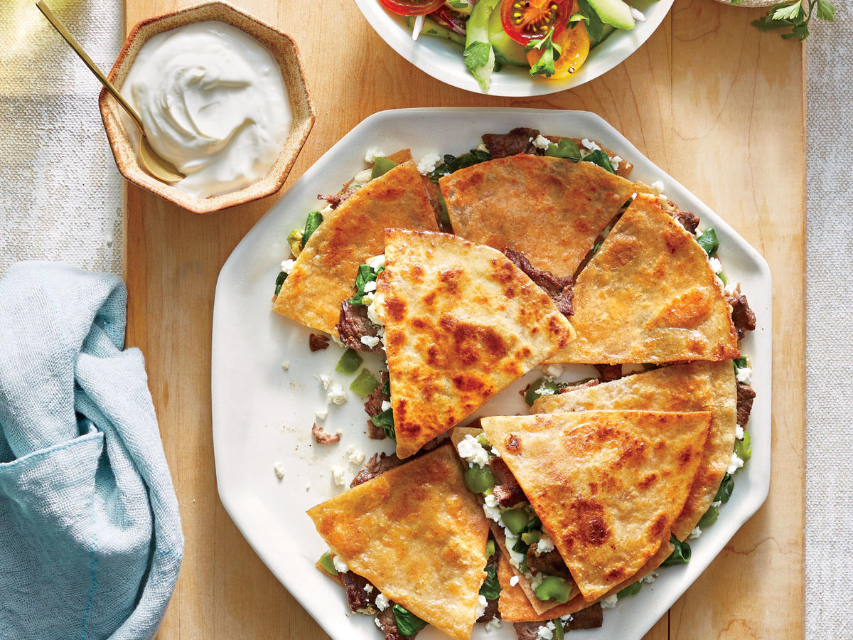 Steak, Feta, and Olive Quesadillas