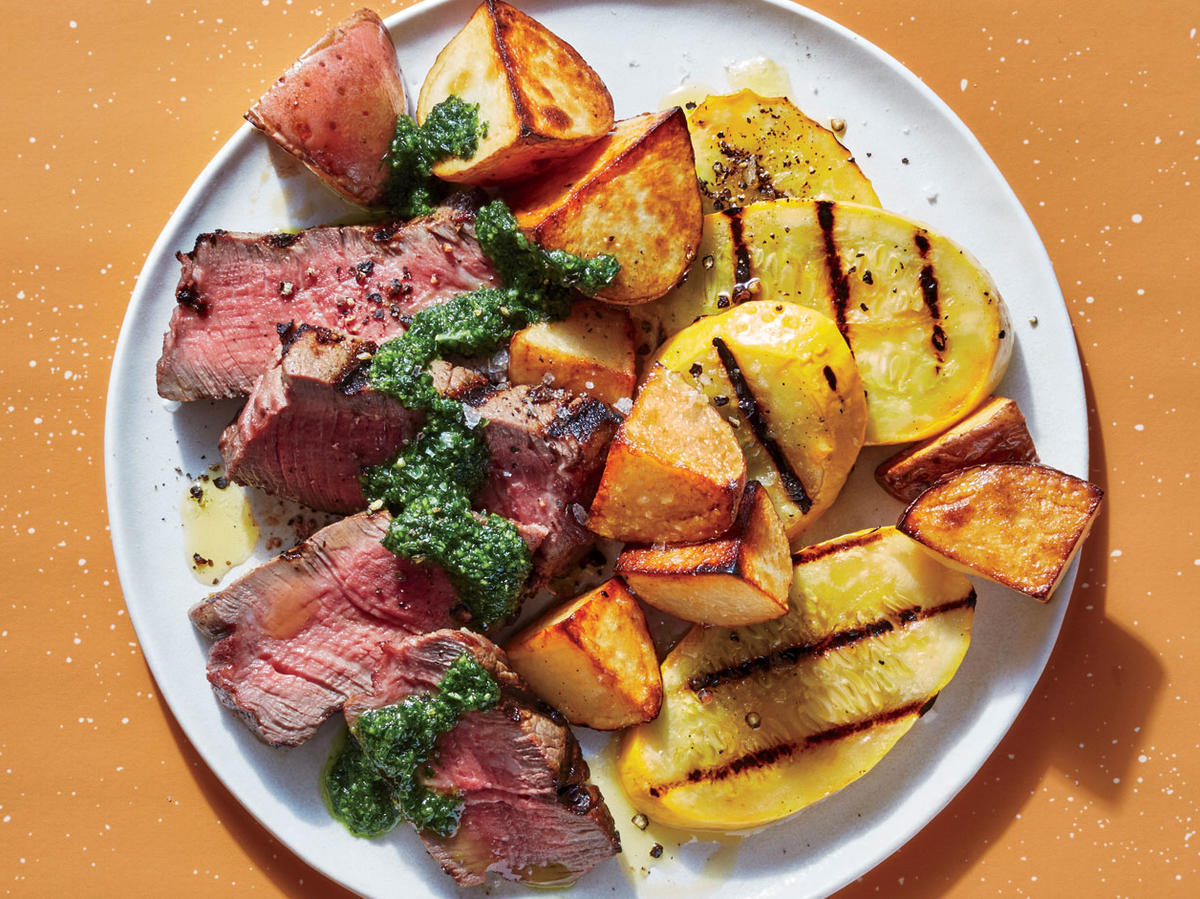 Steak And Veggies With Zesty Chimichurri Recipe Cooking