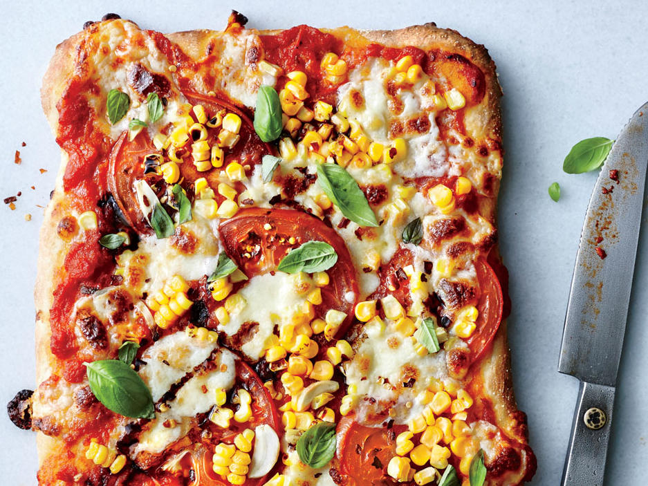 Friday: Tomato, Basil, and Corn Pizza