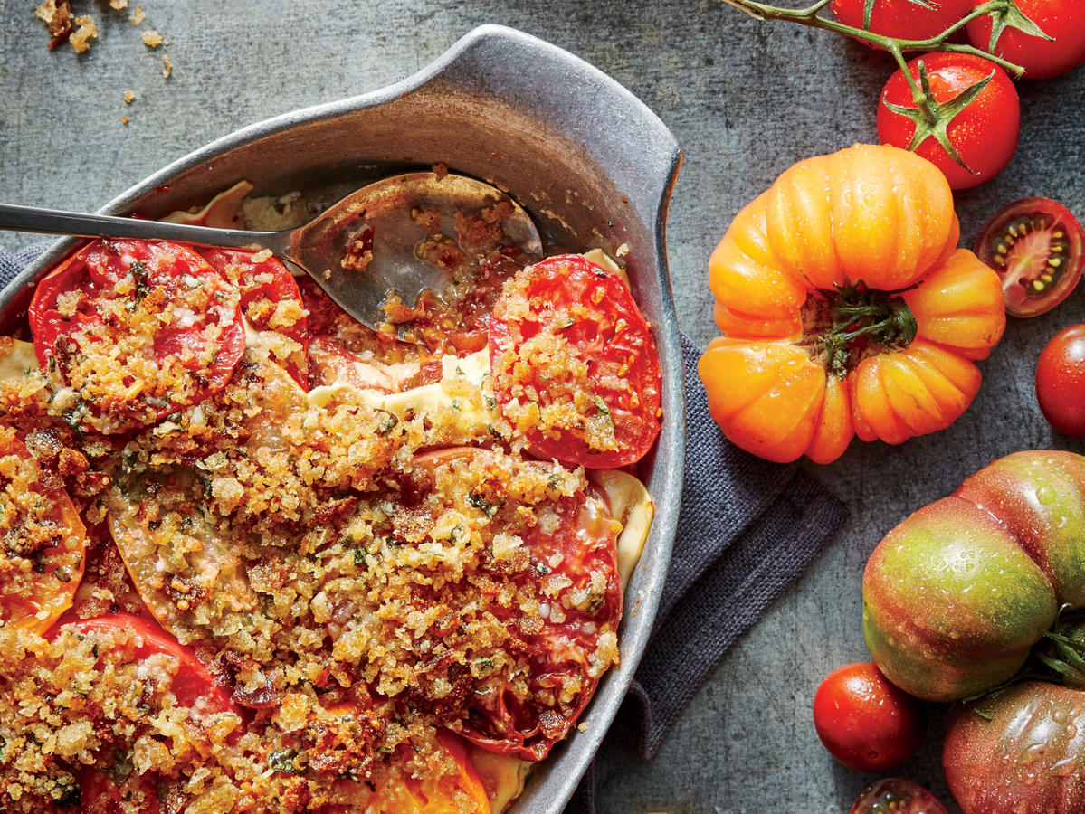 This is a fresh, summery take on lasagna. We call for seeding one-third of the tomatoes to get just the right amount of juciness.