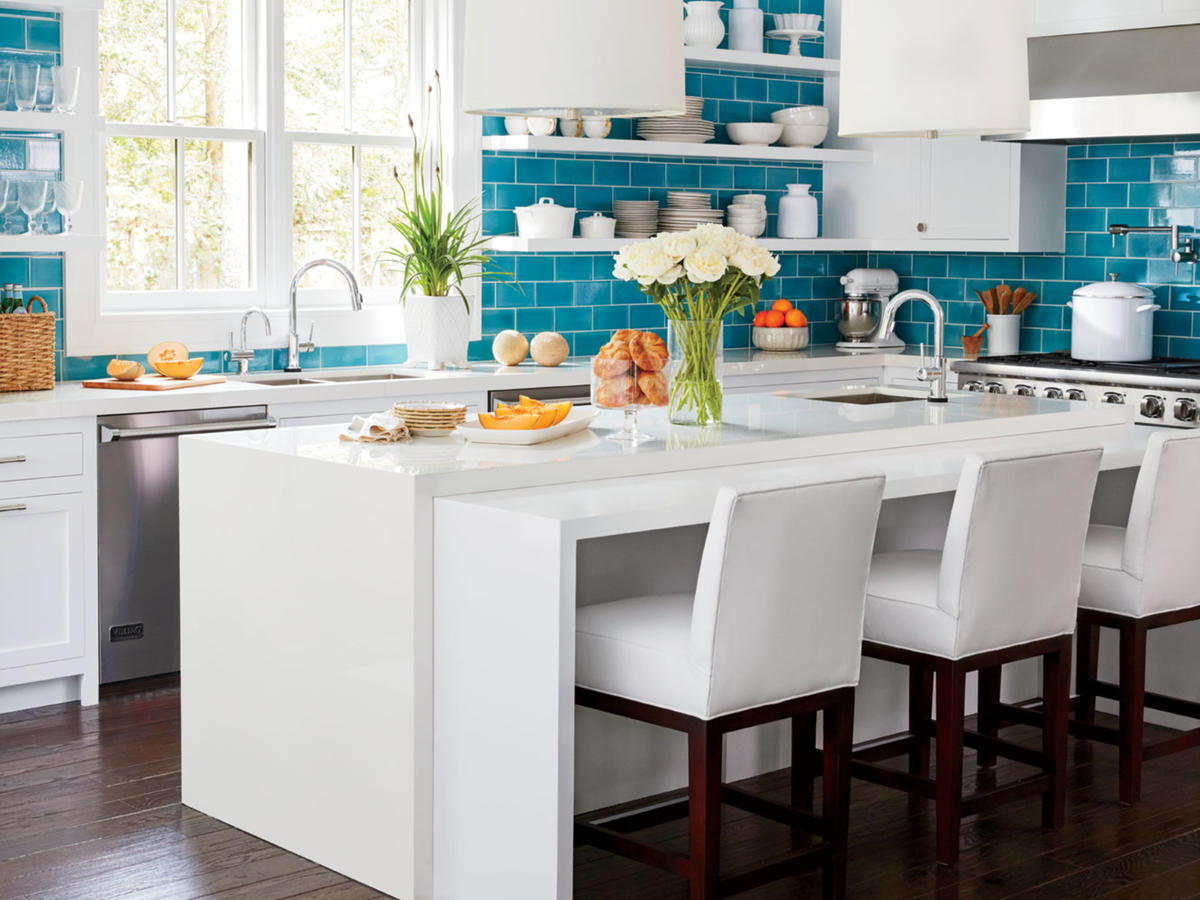 Update your kitchen with color cooking light for White and blue kitchen ideas