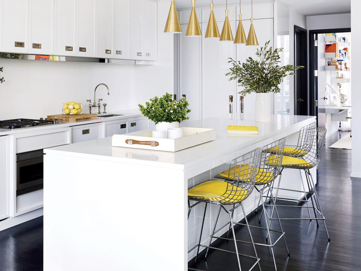 White Kitchen with Yellow Accents
