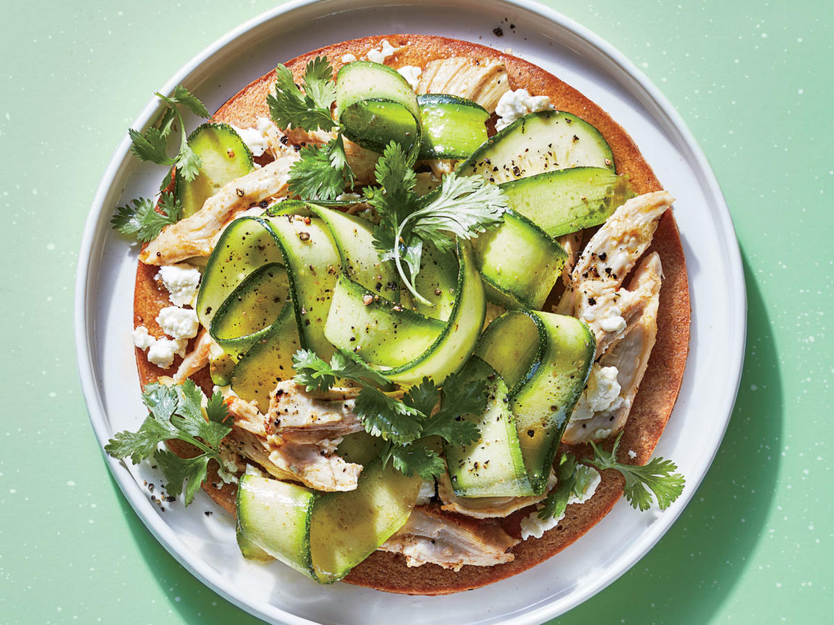 Zucchini-Ribbon Pizza with Chicken