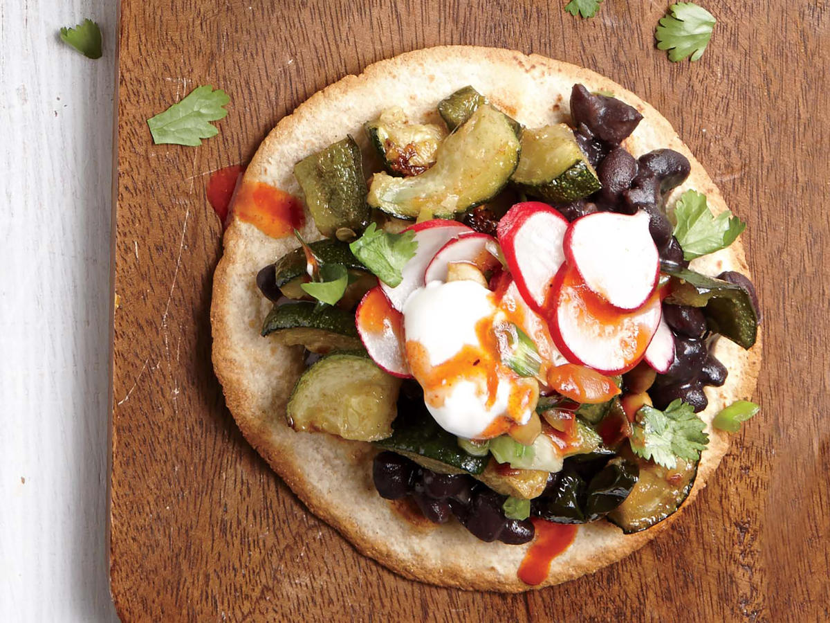 Roasted Zucchini and Black Bean Tostadas with Crisp Radish Relish