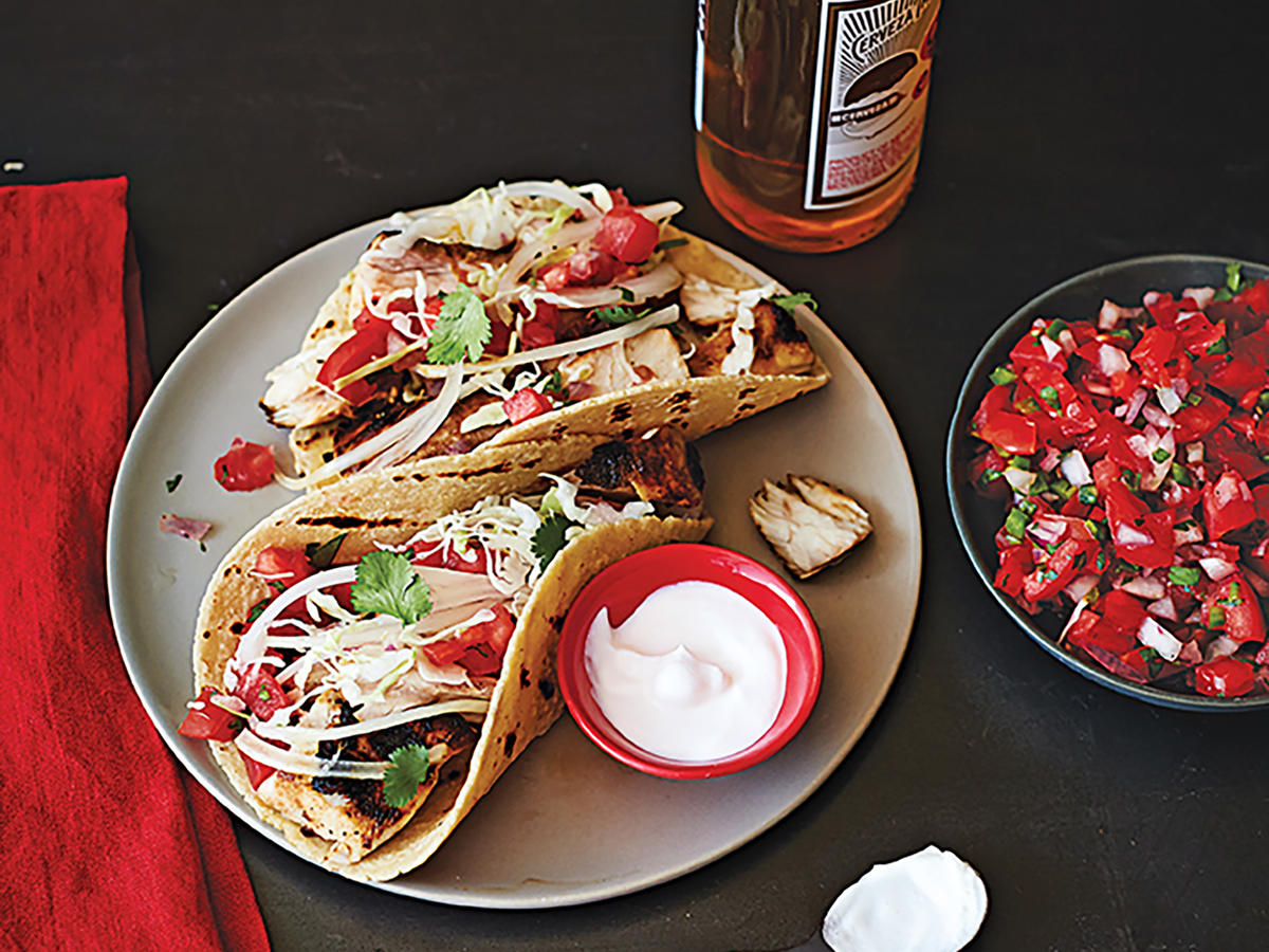 Let guests assemble their own tacos using grilled fish, corn-avocado relish, salsa fresca, and garden slaw. Or serve plates of fish and accompaniments to each person, with tortillas on the side.