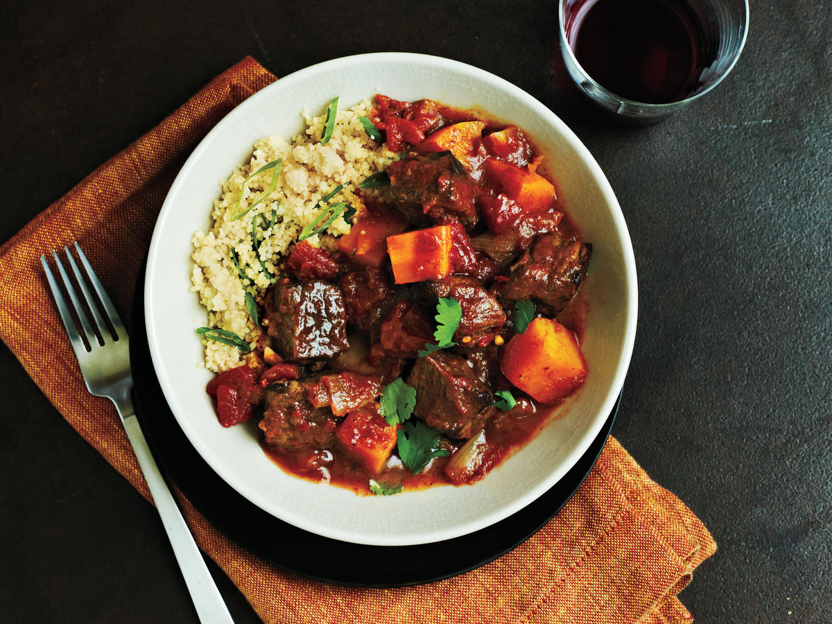 "Take your basic beef stew to the next level by making this simple, fragrant beef tagine featuring butternut squash. A ""tagine"" is a cone-shaped cooking vessel commonly used in North Africa. The unique shape allows the meat to slow cook for a luscious, tender texture. You can buy tagines at most cookware stores, or use a heavy-bottom Dutch oven like we do in this recipe."