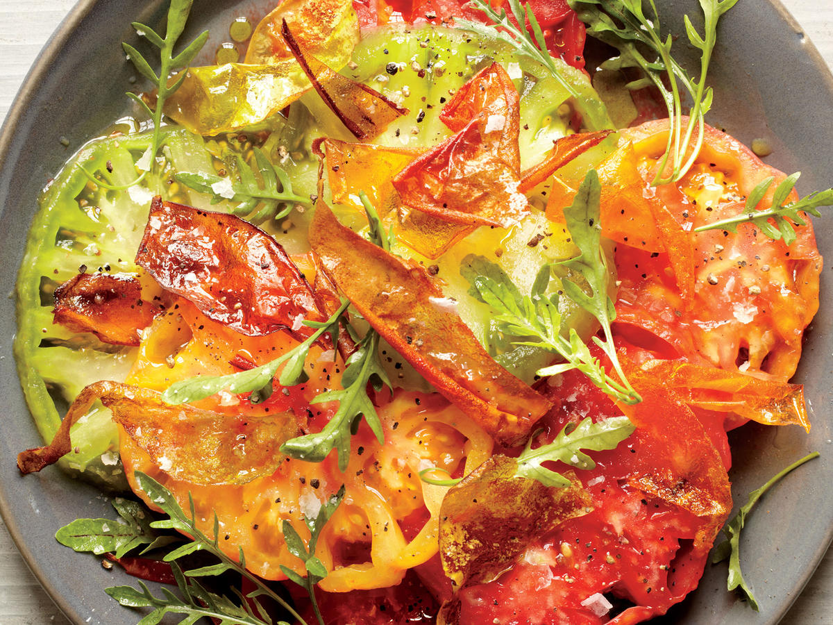 Beefsteak Tomato Salad with Fried Tomato Skins