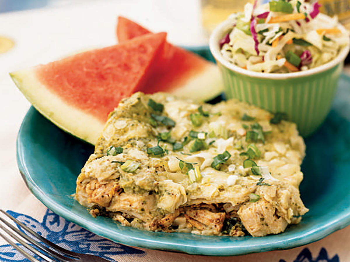 Make this Southwestern chicken favorite for a festive dinner. Chilaquiles mimic a traditional casserole by layering ingredients. For even more heat, add 1/4 teaspoon ground red pepper to the tomatillo mixture.