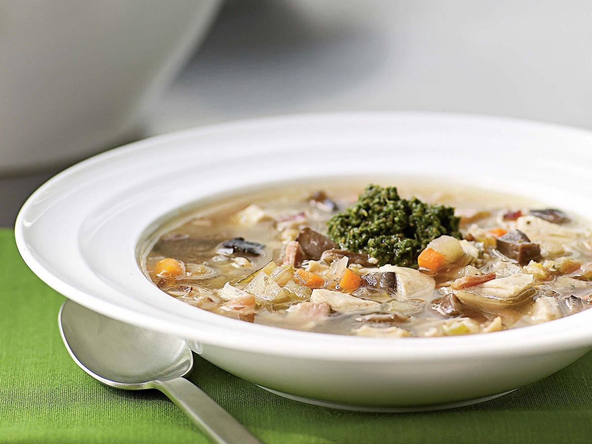 Chicken Barley Soup with Walnut Pesto Recipes