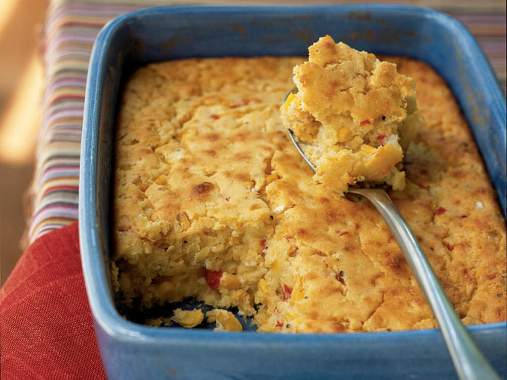 This moist, sweet-savory side dish is a cross between corn bread and corn pudding. You can use 1 1/2 cups fresh corn kernels in place of the canned corn, if you prefer.