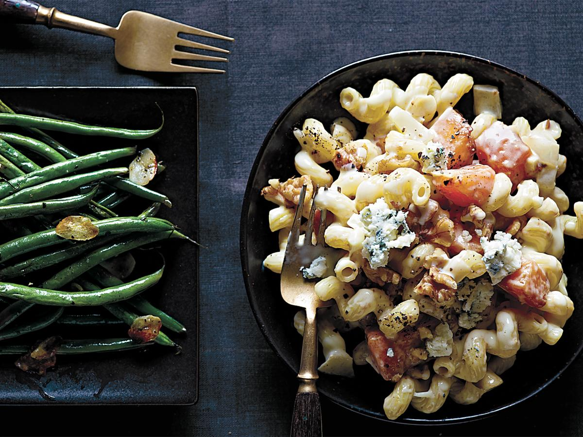Cavatappi pasta offers a fun element to an easy weeknight dish. Full of exquisite flavors from the walnut and blue cheese, this dish offers a pleasant palate of tastes and textures.