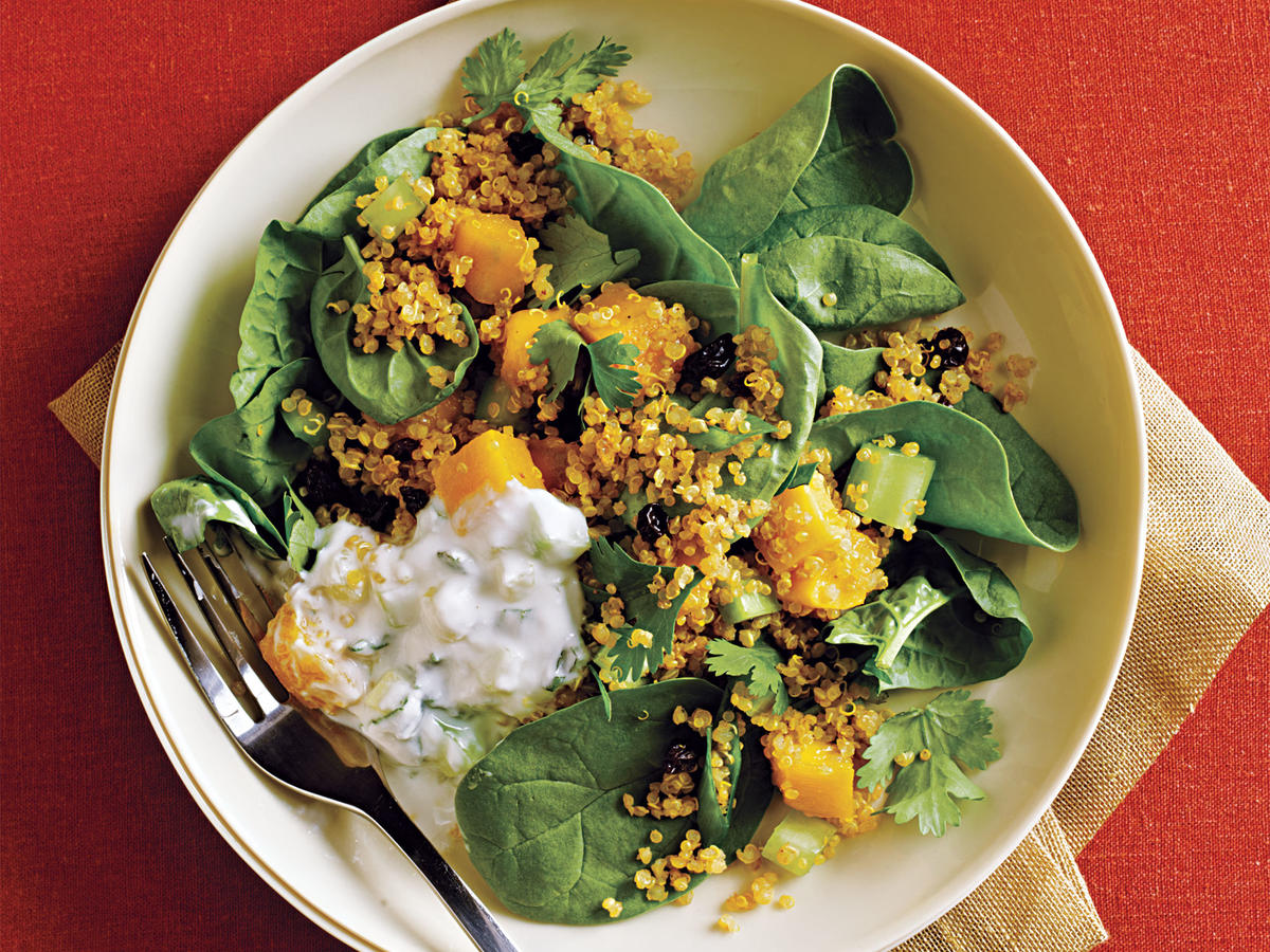 Curried Quinoa Salad with Cucumber-Mint Raita Recipe