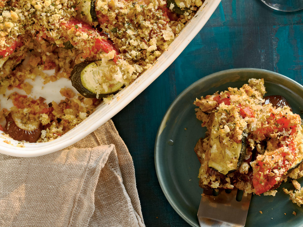 Fresh summer squash, eggplant, and tomatoes are the stars in this recipe. A crunchy breadcrumb coating atop layers of eggplant, zucchini, and tomato give the fresh ingredients the ideal complement.