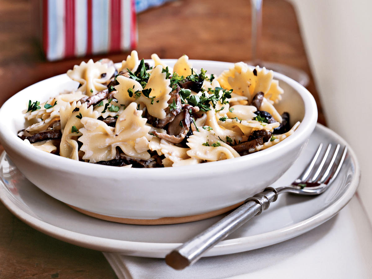 This farfalle recipe scored high in our Test Kitchen for its rich flavor and ultracreamy texture. The exotic mushroom blend, a combination of shiitake, cremini, and oyster mushrooms, is sold in eight-ounce packages. If unavailable, you can use all cremini mushrooms.