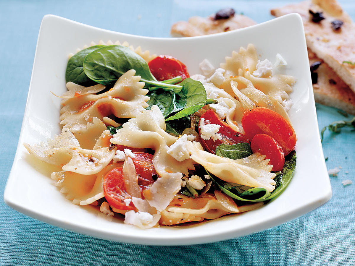 Quick and easy vegetarian recipes for dinner tonight cooking light vegetarian dinner recipes farfalle with tomatoes onions and spinach forumfinder Choice Image