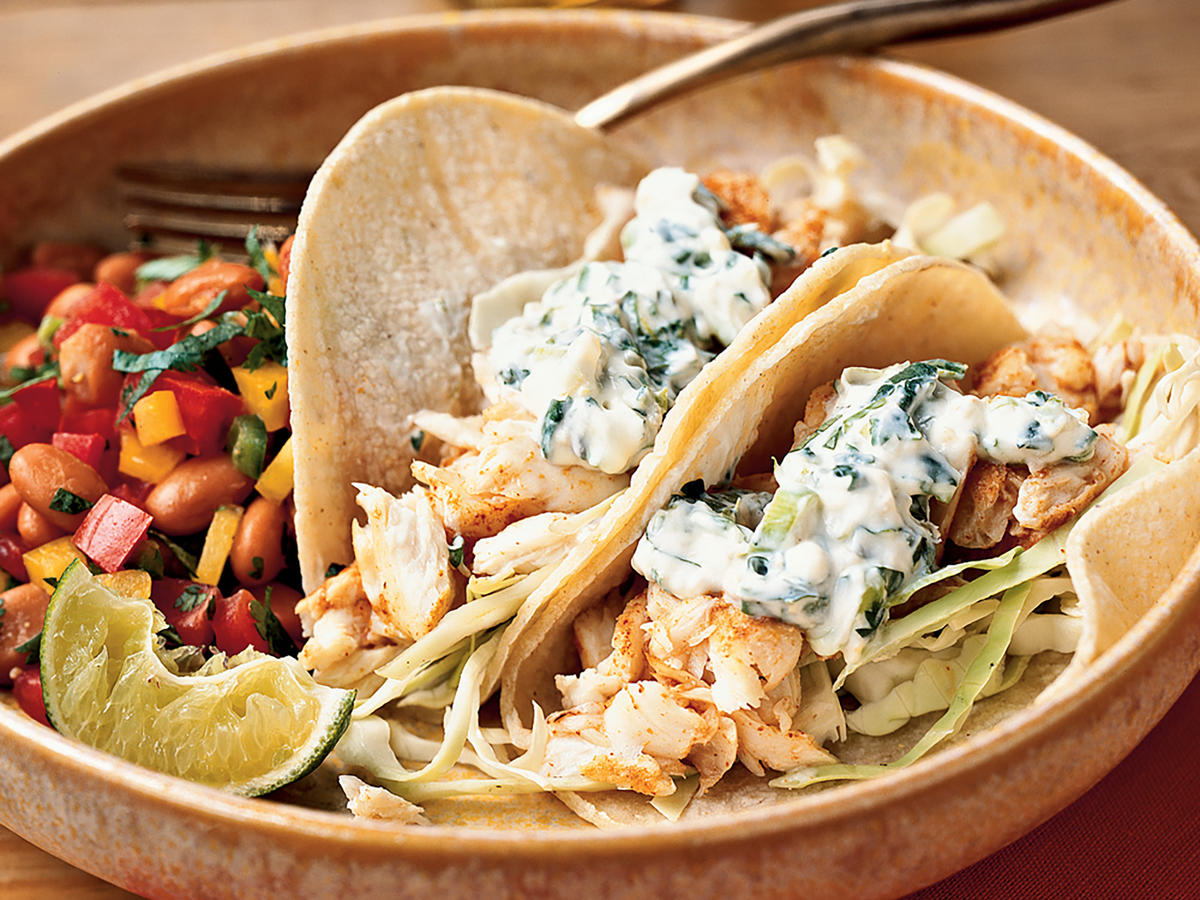 Fish Tacos with Lime-Cilantro Crema Recipe