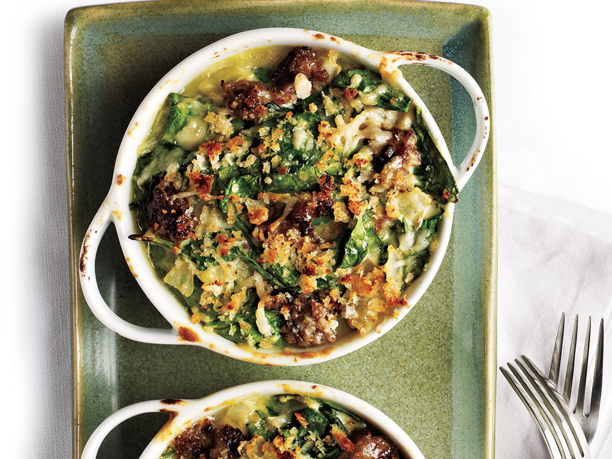 Garlicky Spinach-Sausage Gratin Budget Cooking Recipe