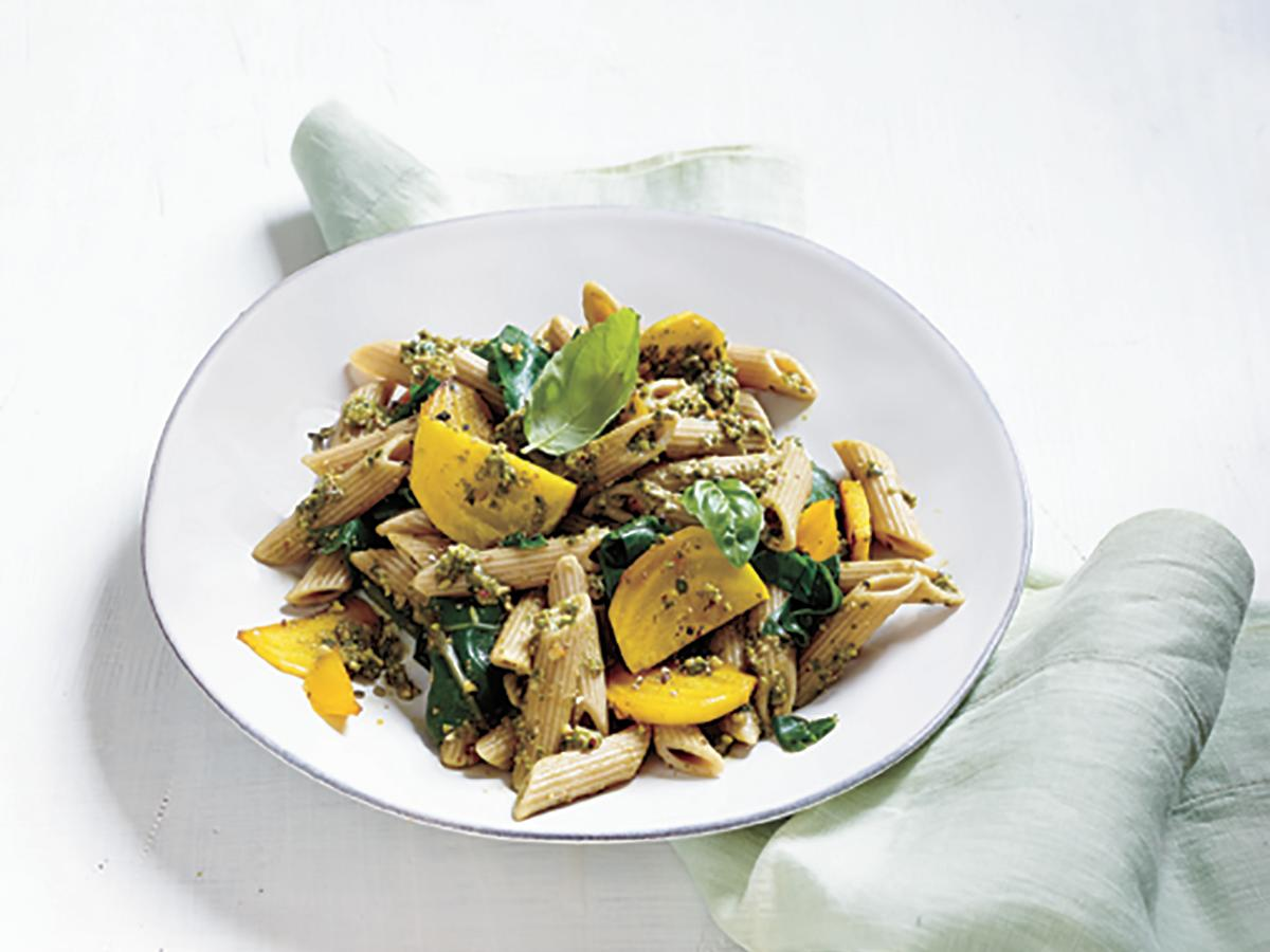 This bright, earthy springtime pasta dish uses the entire beet–stems, leaves, and all.