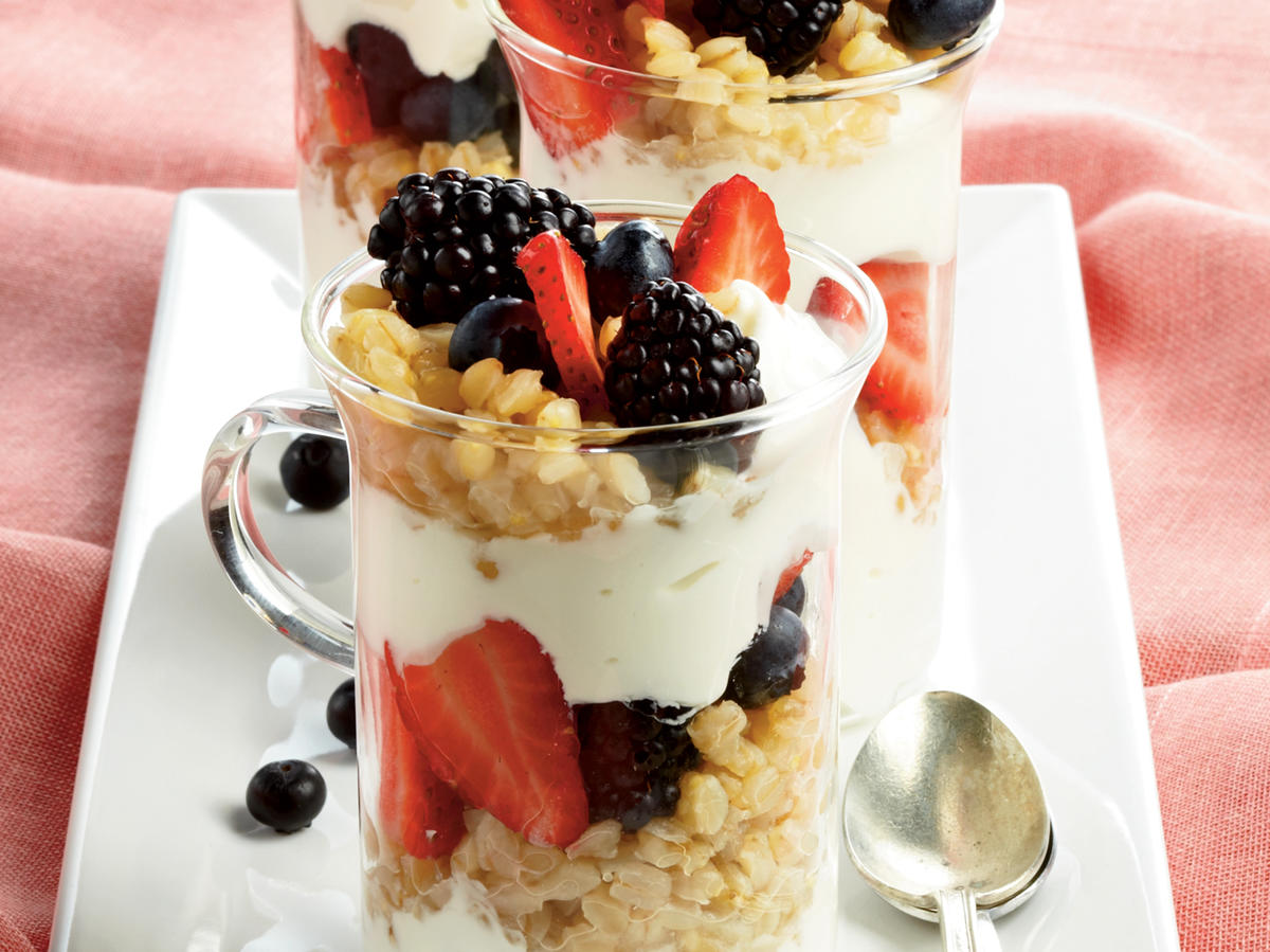 "Grano, which means ""grain"" in Italian, are the polished whole berries from durum semolina wheat. Look for them in health-food stores or Italian markets. If you can't find grano, try wheat berries, barley, or brown rice instead. If your mornings are time-crunched enough, pack this parfait in a plastic container the night before. Just don't forget to grab it from the fridge as you head for the door."